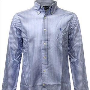 RALPH LAUREN Men Blue/ White Striped shirt SZ 16